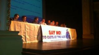 The panel at a meeting about proposed cuts to services at the Alexandra Hospital Redditch.
