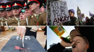 Teen soldiers, protestors, voter, drinker