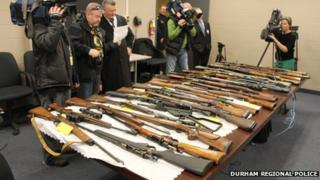 Media film weapons seized from the Ontario home