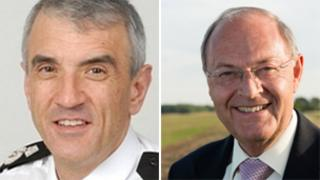 Chief constable Neil Rhodes and police and crime commissioner Alan Hardwick