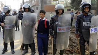 Police in Nepal on 14 March 2013
