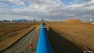 Conveyor belt in Mongolian desert