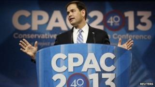 Senator Marco Rubio of Florida speaks at the Conservative Political Action Conference (CPAC) at National Harbor, Maryland 14 March 2013
