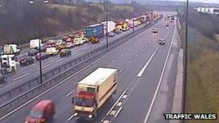 Queuing traffic on the M4 between J28-29 on Friday morning