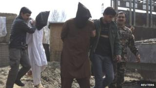 Taliban suspects paraded by the NDS in Kabul on 15 March 2013