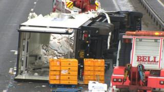 Wreckage of lorry on M62