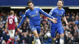 Chelsea players Hazard and Lampard