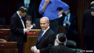 Israeli Prime Minister Benjamin Netanyahu talks at the Knesset on 18 March