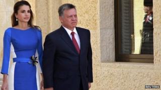 King Abdullah II of Jordan with his wife, Queen Rania