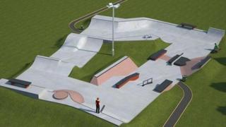 Artist's impression of Daventry skate park