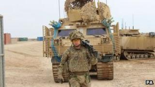 Trooper James McCrossan 21, from Co Antrim, serving with the Royal Dragoon Guards in Helmand Province