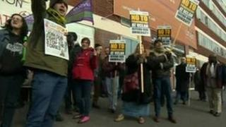 Protesters at the University of Central Lancashire