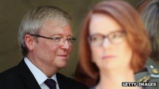 File image of Kevin Rudd and Julia Gillard, taken on 5 March 2013