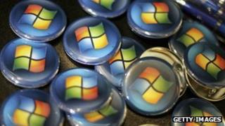 Microsoft logo on badges