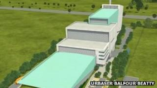 An artist's impression of the proposed incinerator