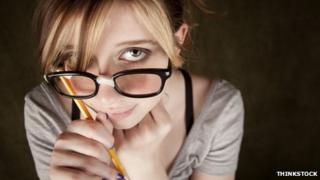 Teenage girl in glasses
