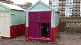 Damaged Hove beach hut