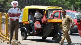 Cardboard policeman in India