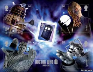 Doctor Who stamps with Dalek, Stone Angel and other baddies
