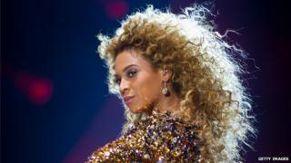 Beyonce performing at Glastonbury 2012
