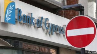 No entry sign in front of a Bank of Cyprus branch