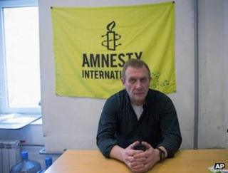 Amnesty International Russia chief Sergei Nikitin in his office in Moscow, 25 March