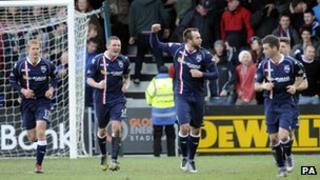 Ross County players celebrating goal