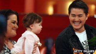 Thomas Beatie (R), Nancy Beatie and daughter Susan Juliette pictured during the RTL 2008 review show in Cologne, Germany 7 December 2008