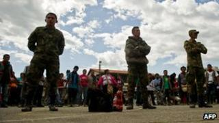 Colombian soldiers held by members of the Nasa in Caldono, south-west Colombia on 31 March 2013