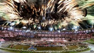 Fireworks at the London 2012 Opening Ceremony