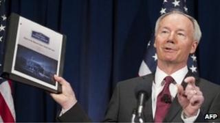 Asa Hutchinson unveils NRA School Shield report in Washington DC 2 April 2013