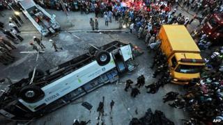 Wreck of bus in Rio de Janeiro. 2 April 2013