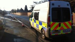 Police cordon in Hunderton area of Hereford