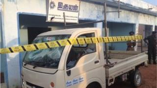 Delivery van damaged in attack