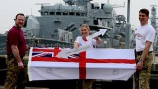 Royal Navy stretcher challenge team