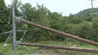 Two electricity poles have been cut down in Derrylin and Kinawley