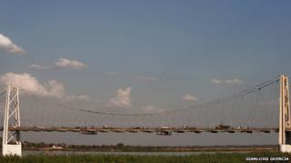 Traffic queues across the bridge from Tete city to the Moatize coal basin in northern Mozambique