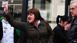 Dawn Bestwick, Mick Philpott's sister, outside Nottingham Crown Court