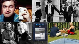 Composite image showing, clockwise from top right: Harry Enfield's Loadsamoney character, local boys looking in amusement at Harrow schoolboys in top hats, a couple drinking champagne in front of a Rolls Royce, a cash machine and Margaret Thatcher shaking hands with a woman whose her hair is in rollers during an election campaign