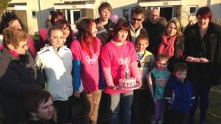 April's family at the balloon release