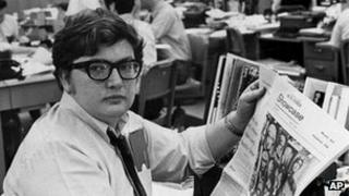 Ebert in 1969 in the Chicago Sun-Times newsroom