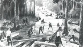 Illustration of a prison camp
