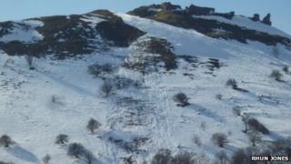 Snow on Castell Dinas Bran