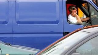 Van in traffic