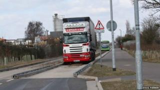 Lorry on Cambridgeshire guided busway