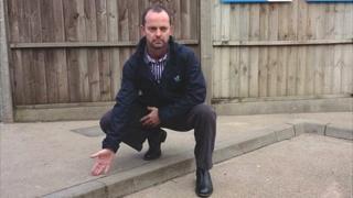 Steve Jones at kerb where PC Kelly Jones alleges she was injured