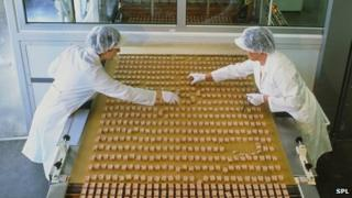 Women working on a chocolate bar production line