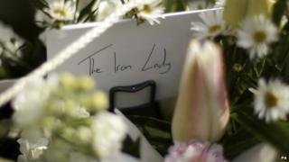 Card and flowers for Margaret Thatcher