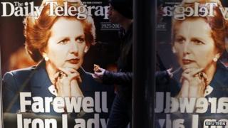 Newspaper advertisement in Sydney showing Baroness Thatcher