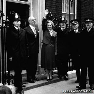 Margaret Thatcher in Downing Street, May 1979
